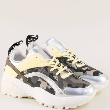 Дамски маратонки в жълто и сребро с камуфлажен принт 011-40sr