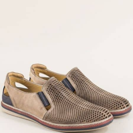 Бежови мъжки обувки от естествена кожа с перфорация 0111045bjs