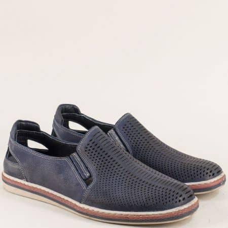 Тъмно сини мъжки обувки с два ластика и перфорация 0111045s