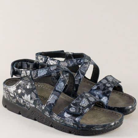 Кожени дамски сандали в черно и сребро- BERKEMANN  01159chps
