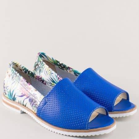 Перфорирани дамски обувки с отворени пръсти в синьо 0117ps