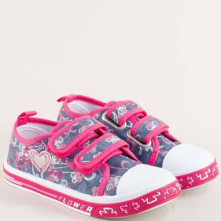 Розови детски кецове с две лепки на равно ходило 012095s