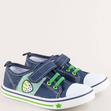 Детски кецове с ластик и лепка в син цвят- MAT STAR 012099s