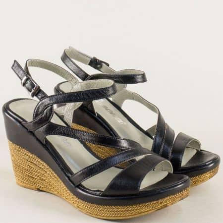 Черни дамски сандали на платформа от естествена кожа 0120ch