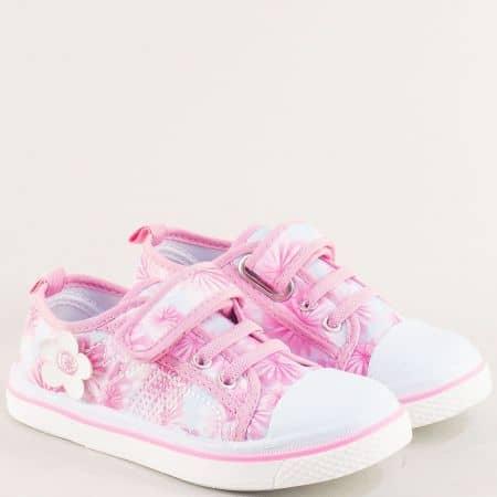 Детски кецове с лепка и ластик в розов цвят- MAT STAR 012104-30rz