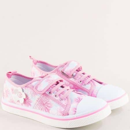 Розови дамски кецове с ластик и лепка на равно ходило 012104-35rz