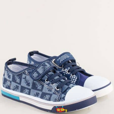 Сини детски кецове с ластик и лепка на равно ходило 012111s