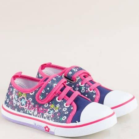 Детски кецове с лепка в синьо и розово- MAT STAR 012121s