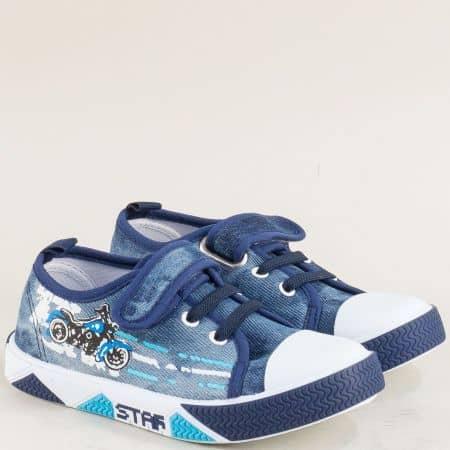 Детски кецове с велкро лента в син цвят- MAT STAR 012124s