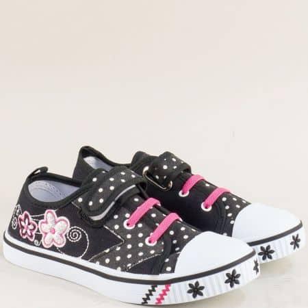 Детски кецове с лепка в черно и розово- MAT STAR 012127ch