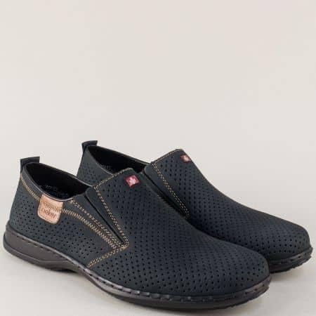Перфорирани мъжки обувки от син естествен набук- Rieker 01356ns