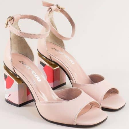 Розови дамски сандали със затворена пета на висок ток 013851rz