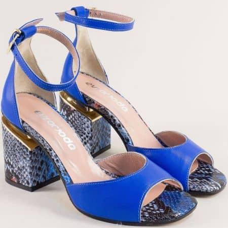 Сини дамски сандали на висок ток със змийски принт 013851s