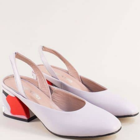 Светло лилави дамски обувки с отворена пета и среден ток 013891l