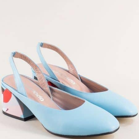Светло сини дамски обувки с отворена пета и среден ток 013891s