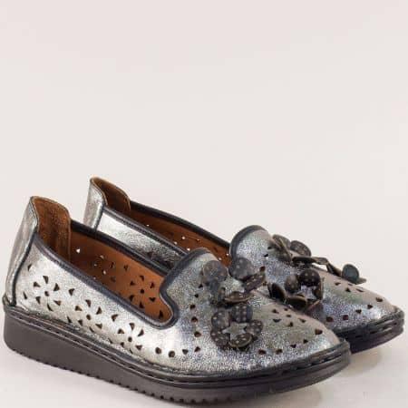 Бронзови дамски обувки на шито ходило с кожена стелка 0146brz