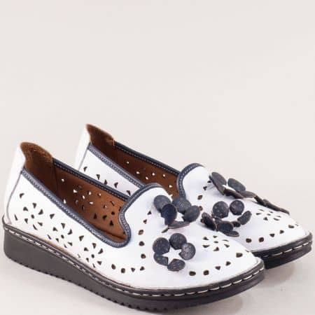 Бели дамски обувки от естествена кожа на шито ходило 0146bs