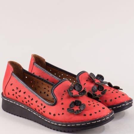 Кожени дамски обувки с перфорация в червен цвят 0146chvch