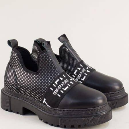 Дамска черна обувка на платформа с лента 014863chps