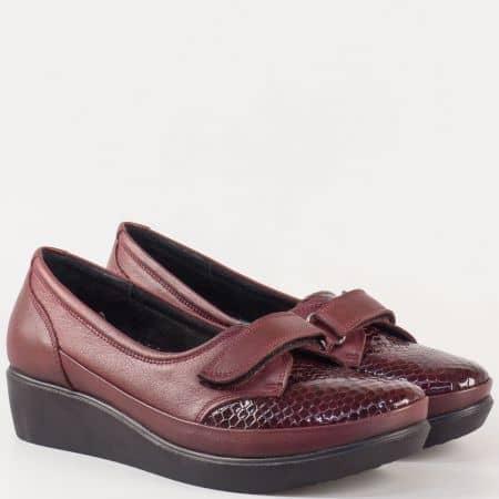 Дамски ежедневни обувки с лепка в цвят бордо, изцяло от естествена кожа и лак 014bd