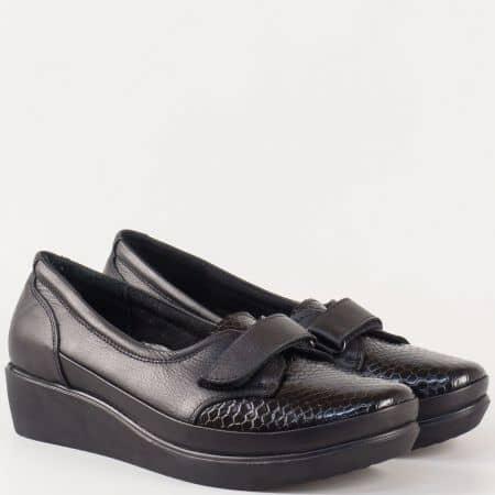Дамски кожени обувки на платформа с лепка и кроко мотив в черен цвят 014ch