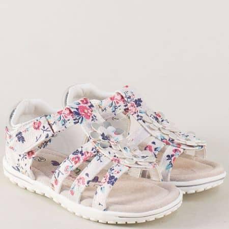 Цветни детски сандали с лепка на равно ходило 015397bps