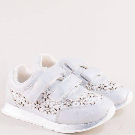 Сребърни детски маратонки с флорален принт- MAT STAR 015426sr