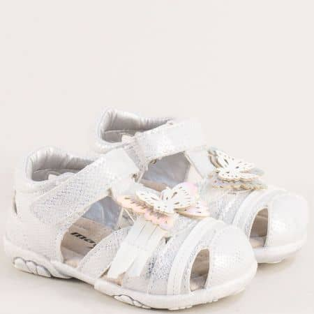 Бели детски сандали с велкро лента и кожена стелка 015433b
