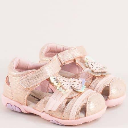Розови детски сандали с велкро лента и кожена стелка 015433rz