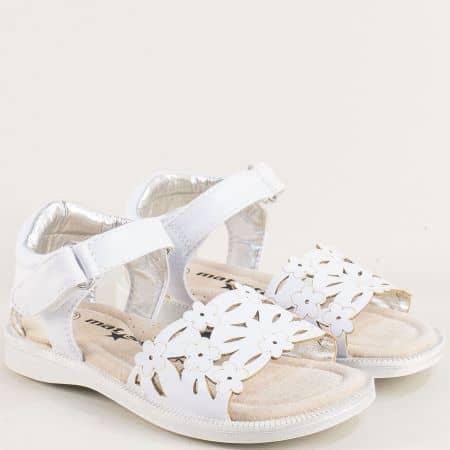 Бели детски сандали с лепка и кожена стелка- MAT STAR 015434b