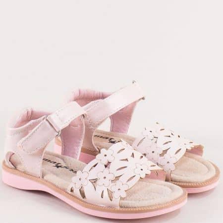 Розови детски сандали с кожена стелка- MAT STAR 015434rz