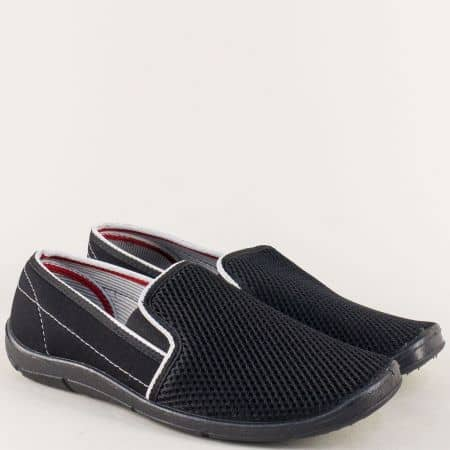 Равни мъжки обувки с два ластика в черен цвят  01613ch