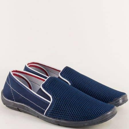 Тъмно сини мъжки обувки с два ластика на равно ходило 01613s