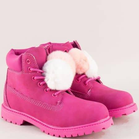 Цикламени детски боти с розово пухче- MAT STAR 016217-35ck