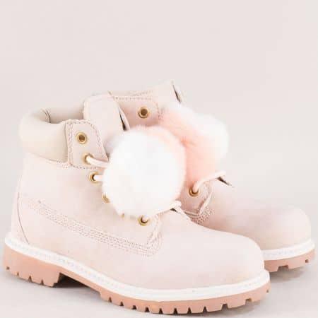 Розови детски боти с пухче, връзки и цип- MAT STAR 016217-35rz