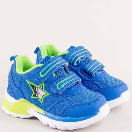 Детски маратонки в син цвят с две лепки- MAT STAR 016271s