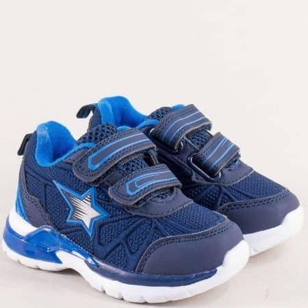 Тъмно сини детски маратонки с две лепки- MAT STAR 016271ts