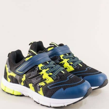Детски маратонки в синьо, жълто и черно- MAT STAR 016286s