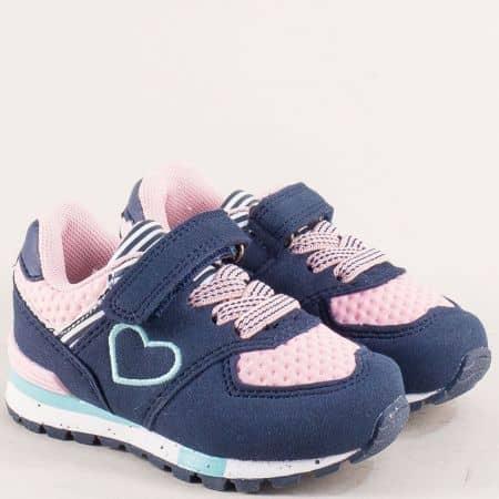 Детски маратонки с лепка в синьо и розово- MAT STAR 016288s