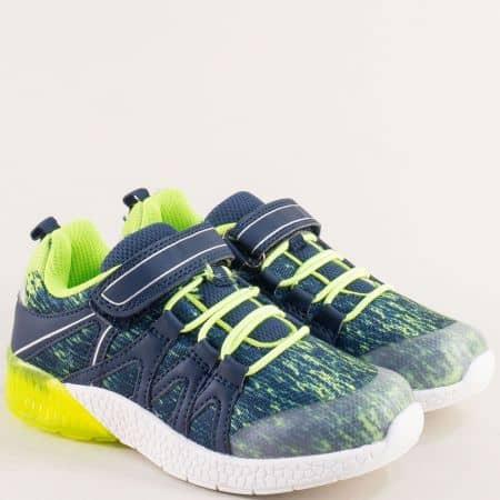 Детски маратонки в синьо, бяло и зелено- MAT STAR 016291s
