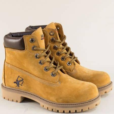 Жълти дамски спортни боти от естествен материал 016306nj