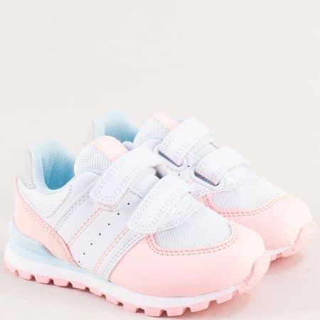 Детски маратонки- MAT STAR в бяло и розово с две лепки 016323ps