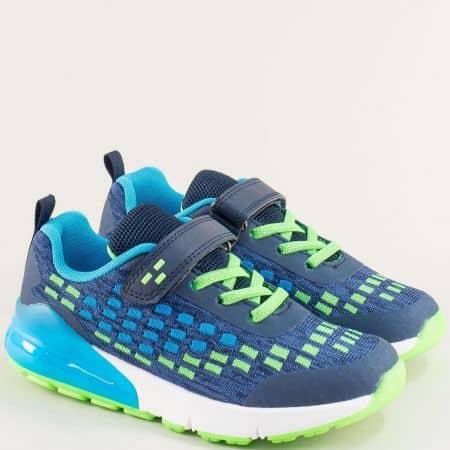 Детски маратонки в син цвят с връзки и лепка- MAT STAR 016331-35s
