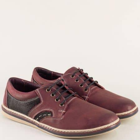 Шити мъжки обувки от естествена кожа в цвят бордо 0181045bd