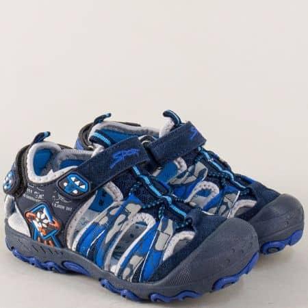 Детски сандали с кожена стелка и две лепки в син цвят 018134s
