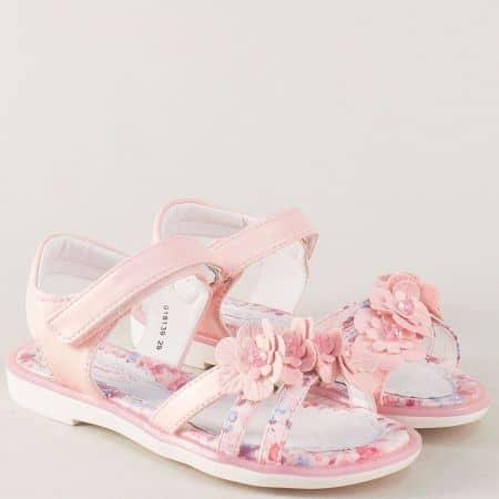 Розови детски сандали с цветчета на равно ходило 018139rz