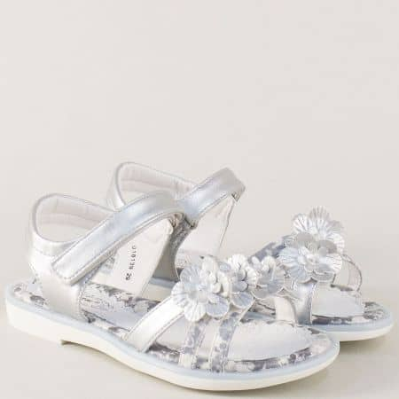 Сребристи детски сандали на комфортно ходило 018139sr