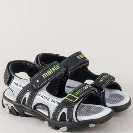 Черни детски сандали с три лепки и велурена стелка 018141ch