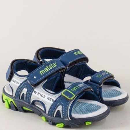 Детски сандали в син цвят със стелка от естествен велур 018141s