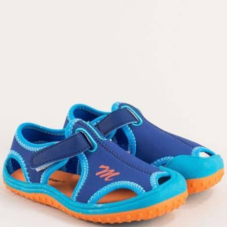 Сини детски пантофи с прорези и лепка- MAT STAR 018176-30s